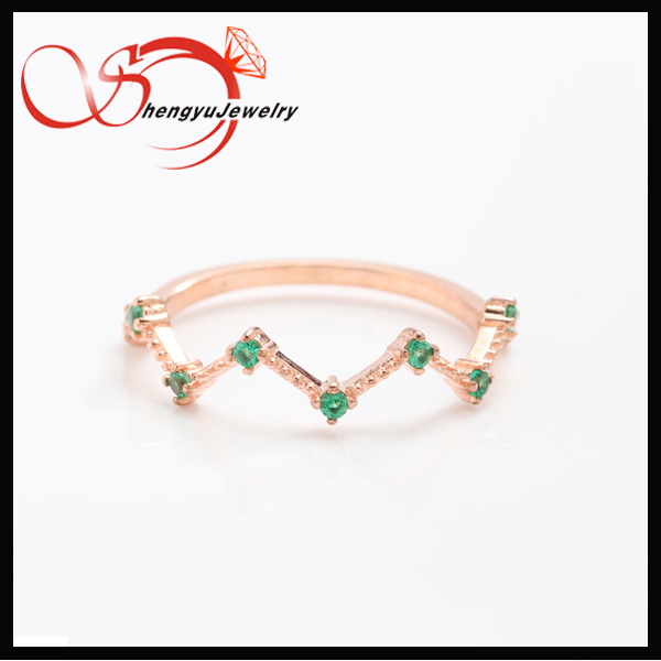 single green nano rose plated twists lady ring