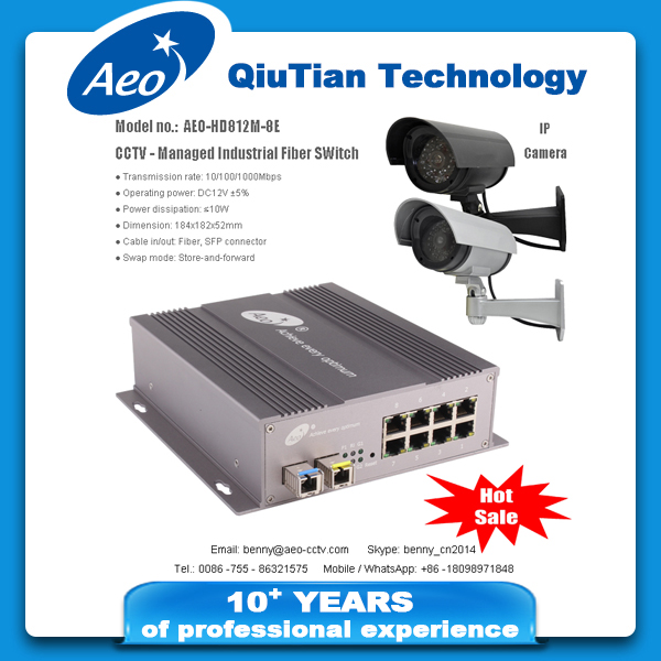 CCTV - HD IP camera over fiber transmission to long distance up to 100Km with Managed Industrial Fiber Switch