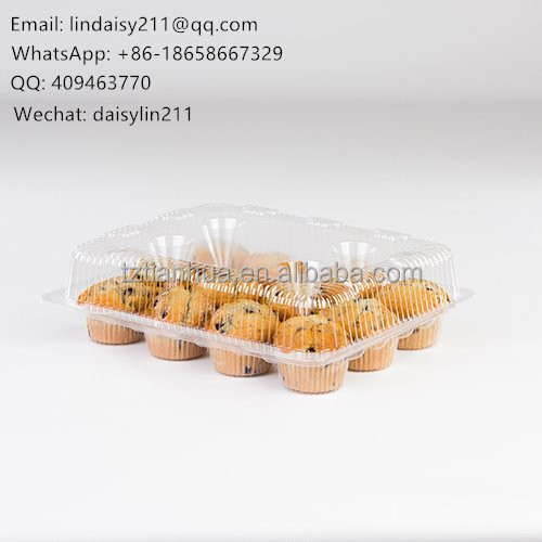 disposable small cake/cupcake plastic containers with 12 dividers