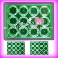 Nail Art 12 Empty Case Pots Bottle In 1 Container Boxes