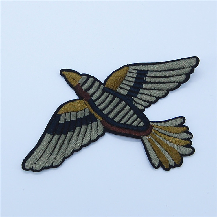 High density birds 3d embroidery patch hand