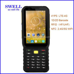 K100 rugged android pda handheld terminal 4g nfc rfid barcode scanner fingerpint android phone without camera