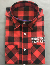 2017 spring mens red and black checked 100%cotton soft flannel shirt