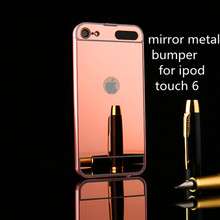 luxury electroplated metal aluminuml bumper mirror pc case back cover for iphone ipod touch 6