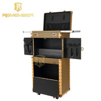 High Quality hairdressing Professional salon tool pvc on wheels rolling cosmetic makeup kits case beauty trolley