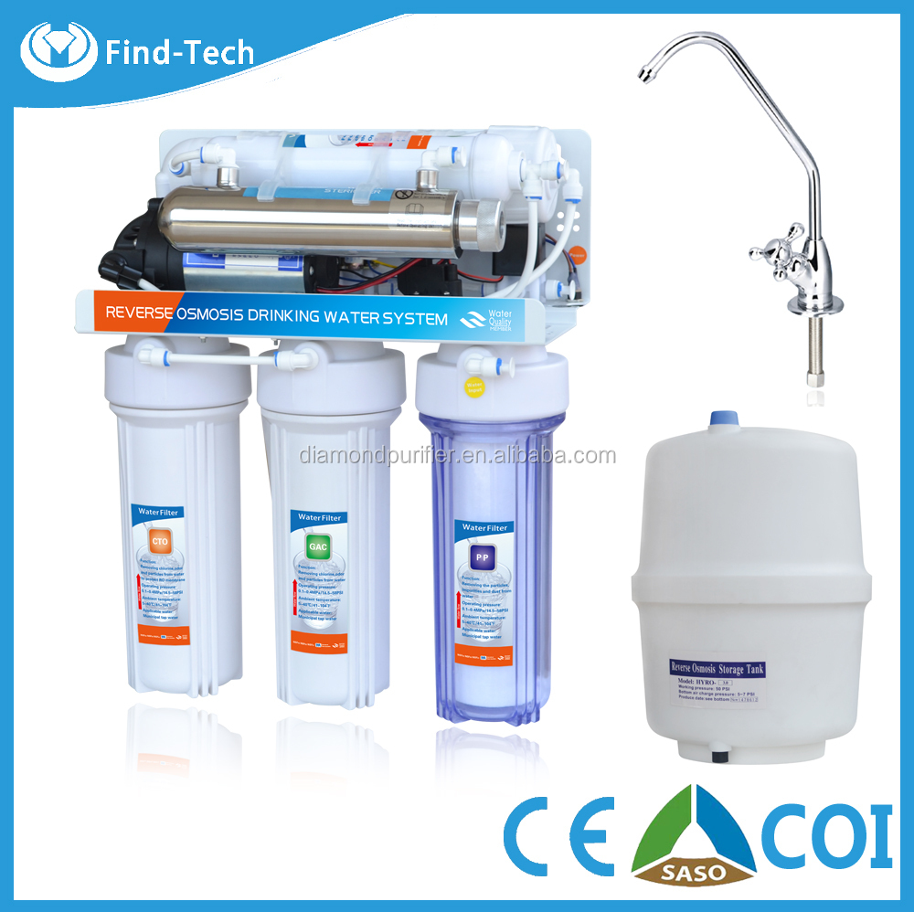 6-stage RO water system with UV lamp undersink water filter reverse osmosis membrane 75G