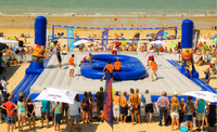 2015 inflatable football court, adults inflatable bossaball court on sale