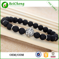 Fashion Men's Black Lava Rock Energy Silver Lion Elastic Beaded Bracelet 8MM