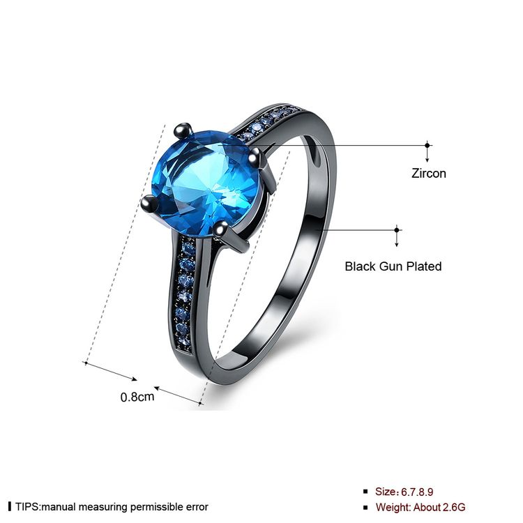 Factory Wholesale New Arrival Popular Fashion Blue Crystal setting Blue Diamond Ring