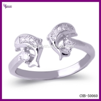 New Fashion Double Dolphin Wholesale Sterling Silver Ring Mountings