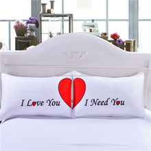 High quality Custom Printed Couple Pillow Cases Cotton Polyester Pillowcase with Border Piping
