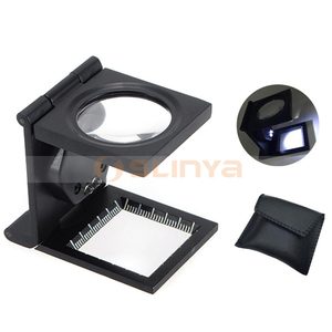 10X LED Folding Cloth Magnifier Illuminated Metal Repair Loupe with Scale