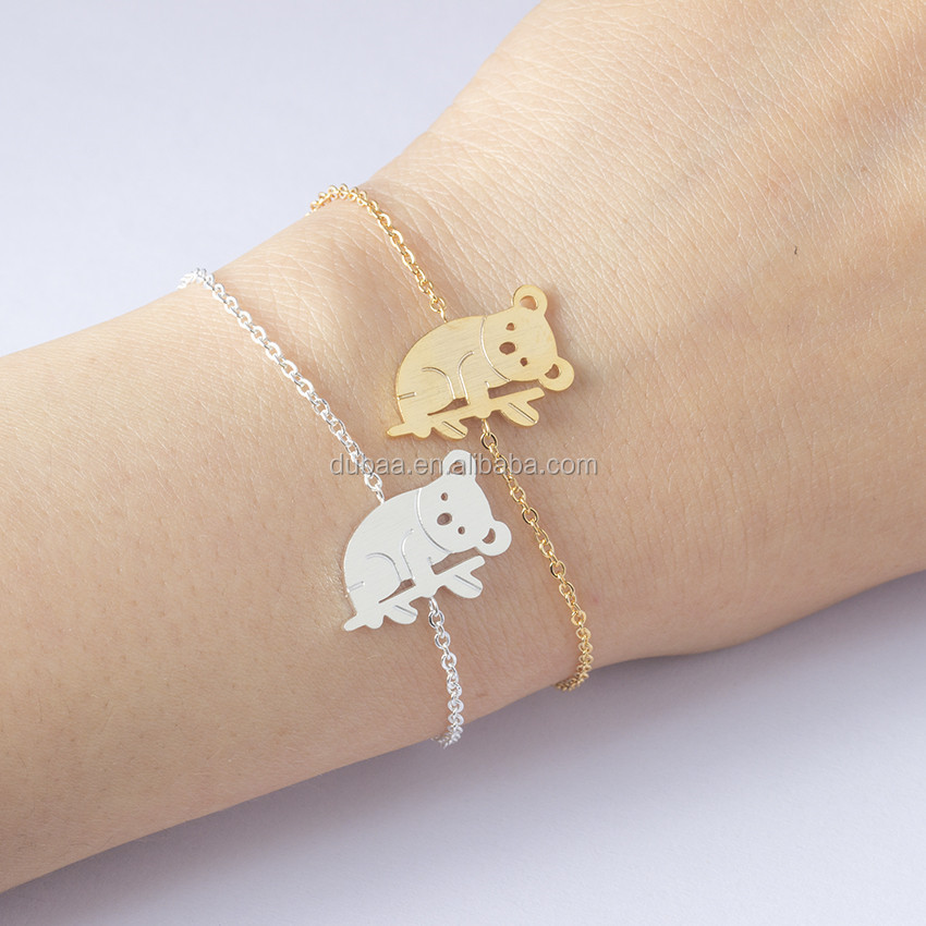 Koala Bear Charm Bracelet Women Children Jewelry Stainless Steel Gold Silver Color Chain Animal Bijoux Masculino Plusera