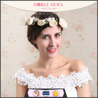 Noble Hera 1HE Stock items beige color artificial peony flower head wreath