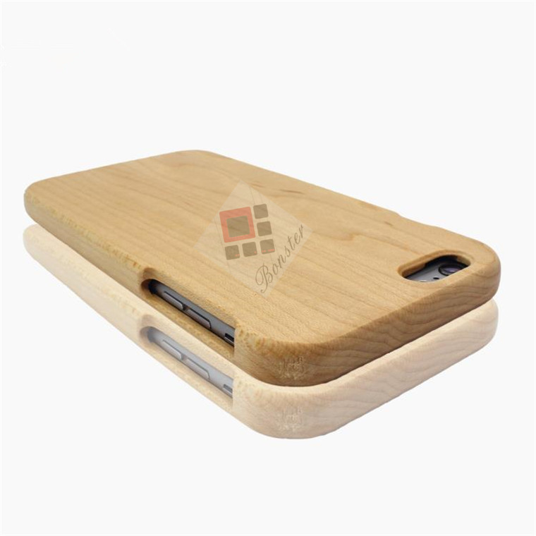 Smooth Natural Wood Phone Case Two Parts Maple Wood Cell Cover For Christmas Gift