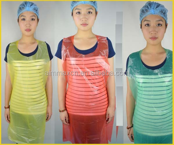 Food processing Disposable Apron Polythene 6 gram in colorful
