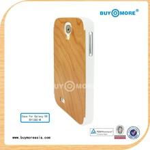 2014 New & Hot Sale natural bamboo wooden cover for galaxy s4 plastic cover with bamboo wood back for samsung s4
