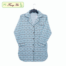 Wholesale Light Green Printed White Flower Cotton Flannel Nightshirt For Women