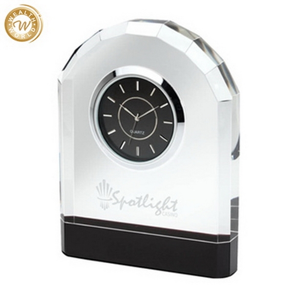 Bottom price best sell crystal plaque clock office decoration