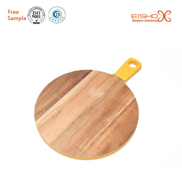 Eisho wholesale cheese acacia wooden round chopping cutting board with handle