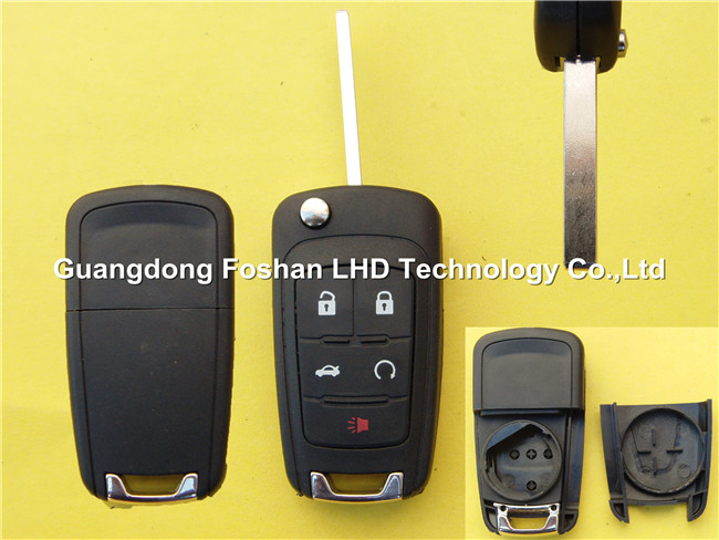 Keyless entry flip remote key Chevrolet 4+1 buttons HU100 blade