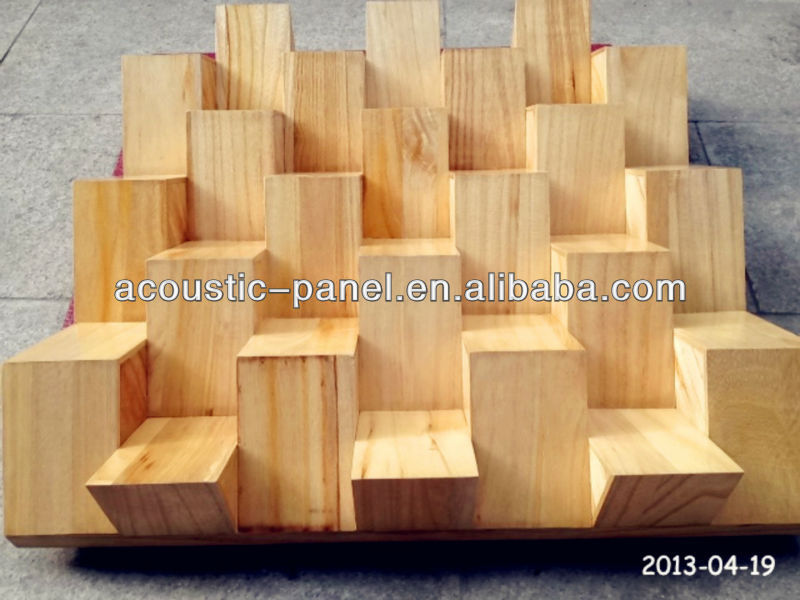 3D wooden sound acoustic diffuser QRD triangular shaped wooden decorative diffuser
