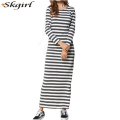 islamic oem o Neck Striped long sleeve muslim T Shirt inner Dress for abaya