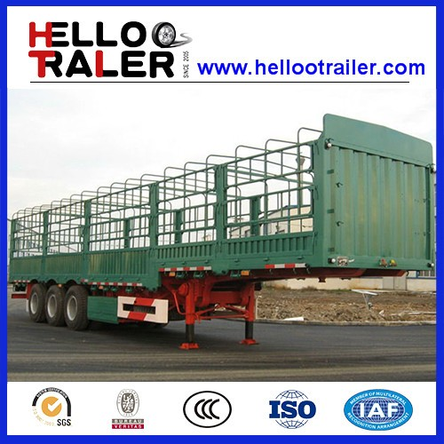 Double Triple Axles Rail Fence Stake Side Wall Semi Trailer,Storage Trailers,Fence Truck Trailer