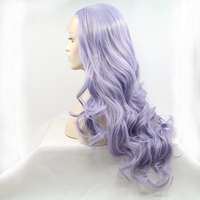 Best Selling Wholesale Natural Wavy Texture Grey Mix Color Synthetic Lace Wig
