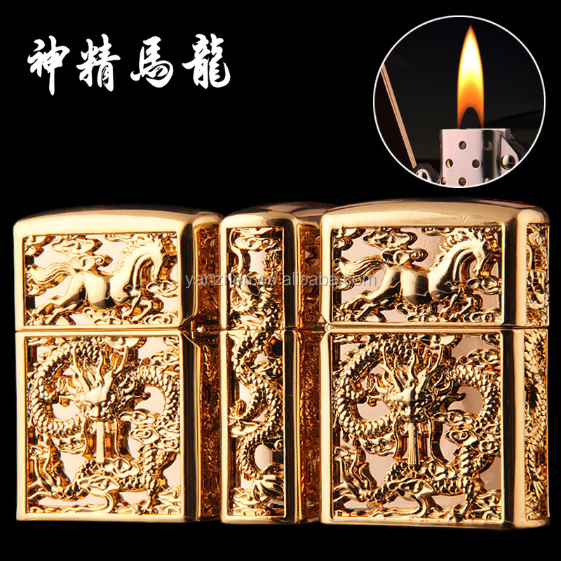 Long ma The leader surrounded by hollow dragon horse spirit creative modeling metal relief kerosene lighters men gifts custom
