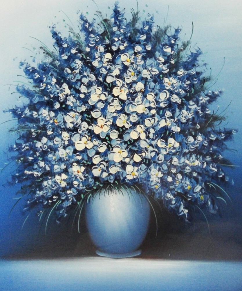 Artwork handmade canvas oil painting knife blue flowers wholesale new factory direct