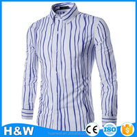2016 New casual striped shirts for man Men's slim fit dress shirts