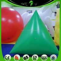 Durable PVC Advertising Inflatable Water Buoy Balloon , Inflatable Green Triangle Buoy Balloon For Water Event