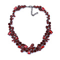 Fashionable royal red statement necklace, luxury crystal statement necklace, wholesale statement accessory