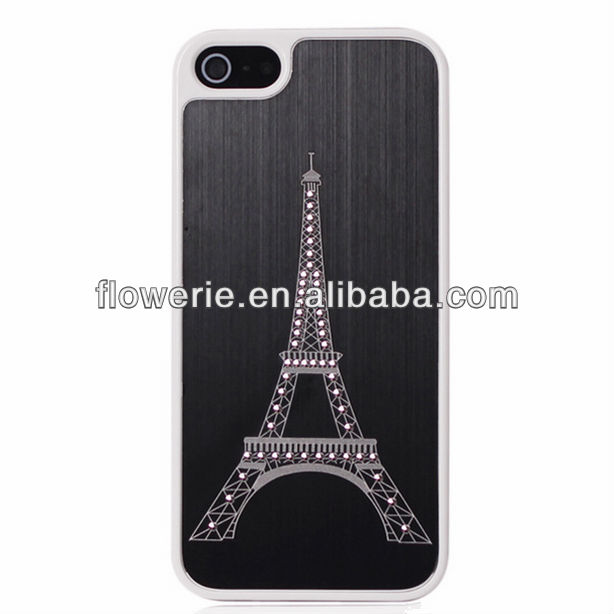 FL2356 Guangzhou hot selling effiel tower pattern brushed metal case with daimond for iphone 5 5G