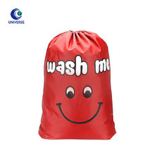 Red Custom Order Drawstring Nylon Wash Bag With Logo Printed