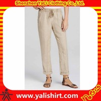 Custom high quality breathable durable fitness cheap roll cuffed classic women linen pants suit