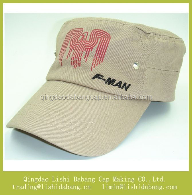 Cotton twill material printed army hats, flat top military cap travel