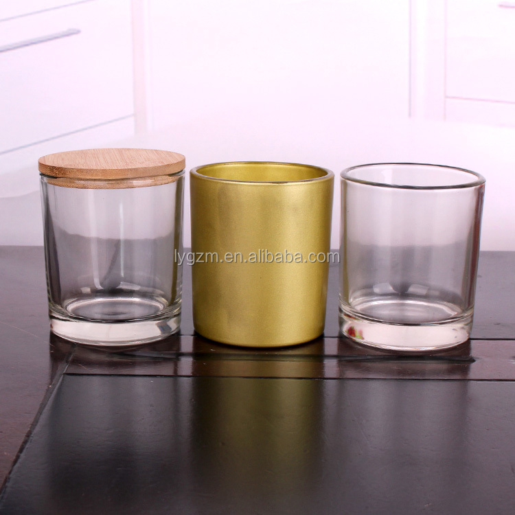 Hot sale 335ml 11oz colored candle glass jars with wooden  lid