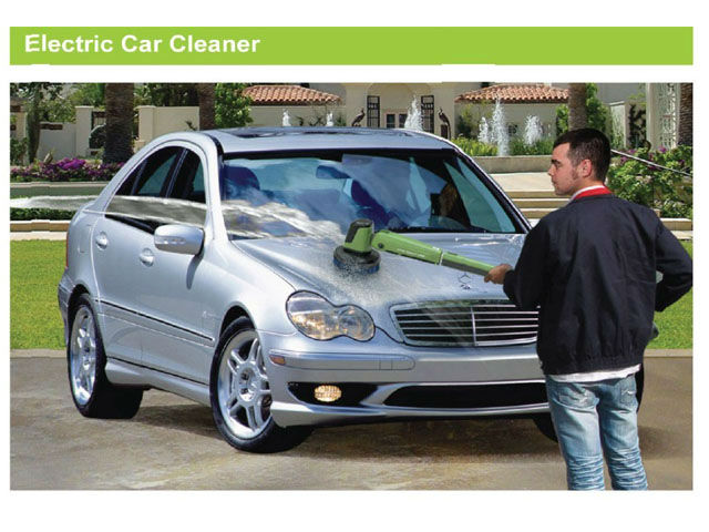 mobile electric car cleaner with 4 interchangeable brushes