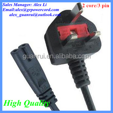 UK 2 core 3 pin Plug and Power cable Home appliance UK plug