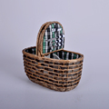 Plaid pattern fabric wicker picnic basket for two people with handle