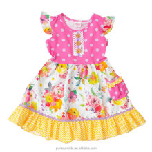 summer spring flutter sleeve floral print boutique dress for little girls