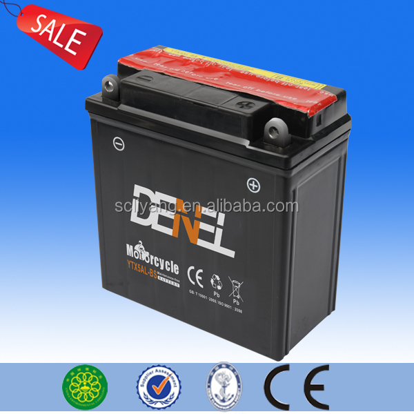 whole sale factory price 12v 5ah motorcycle battery