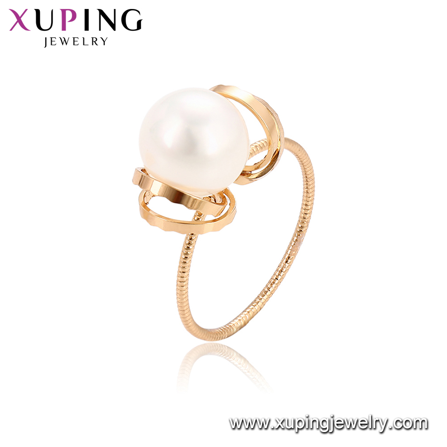 15341 xuping new style best-selling romantic freshwater pearl jewelry, fancy 18k gold filled finger ring accessories for women