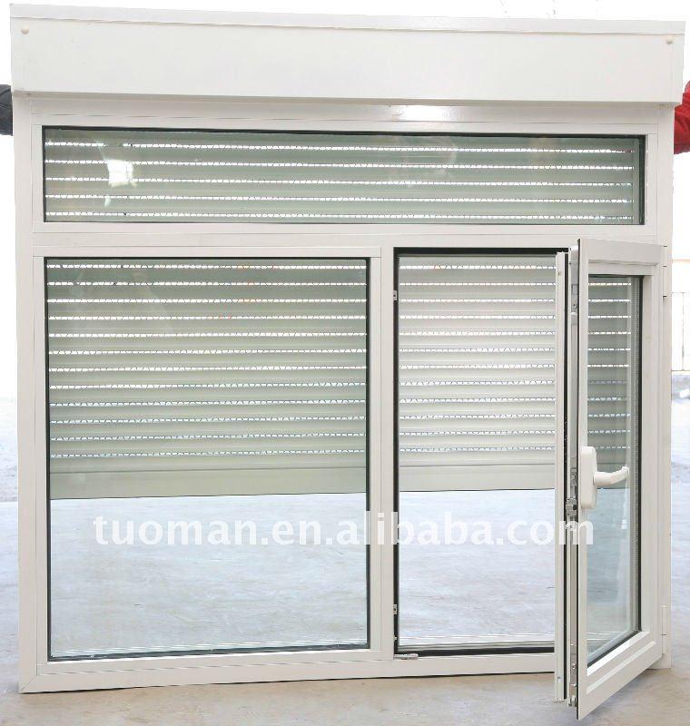Finestra battente in alluminio rullo di scatto e retrattile zanzariera monoblocco vetrino - Serranda porta finestra ...