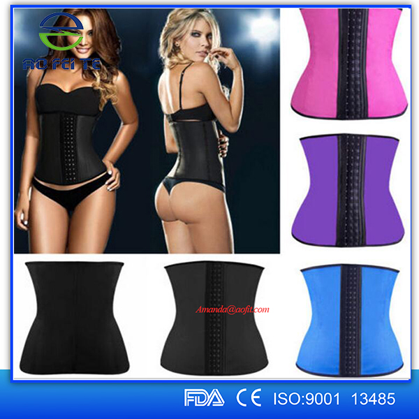 2016 Wholesale 3 Hooks S-6XL Slimming Woman Latex Waist Trainer Corset