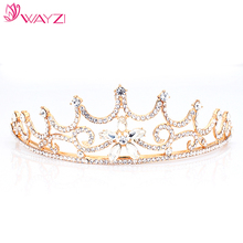 wayzi brand wholesale princess white rhinestone and gold wedding crown hair accessories bridal tiara
