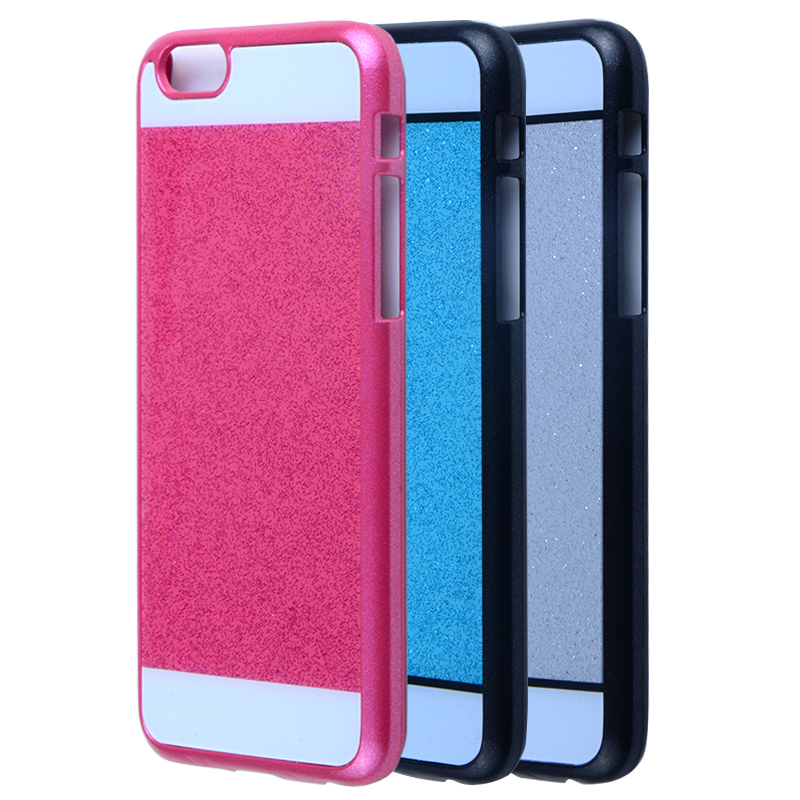 Glitter custom color case for iphone6/6S cover with rubber coating