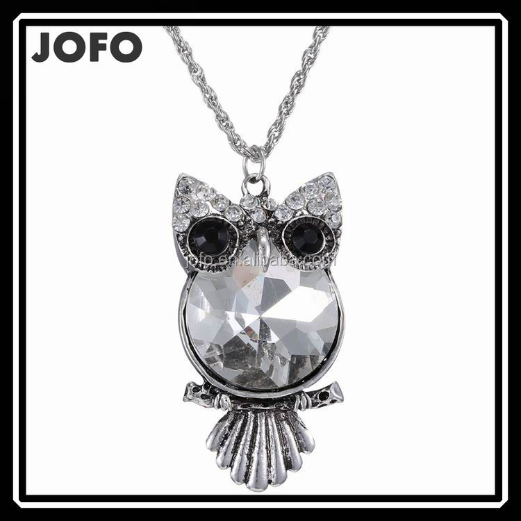 New Owl Necklace Top Quality Rhinestone Crystal Pendant Necklaces Classic Animal Long Necklace Jewelry For Women Gift